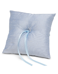 The Knot Colored Silk Ring Pillow - Ice Blue
