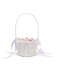 The Knot Colored Silk Flower Girl Basket - White