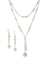 Crystal & Pearl Double Strand Necklace