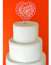 Henna Heart Cake Topper with Swarovski Crystals
