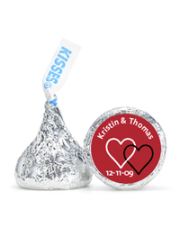 Personalized HERSHEY'S® Kisses - Two Hearts (Red)