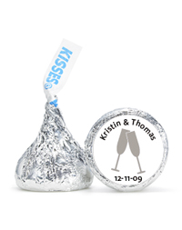 Personalized HERSHEY'S® Kisses - Toasting Flutes (Silver)