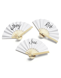 Mini Paper Fan Place Cards - White