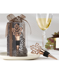 Leaf Copper-Finish Bottle Stopper Favor