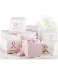 """""""In Favor of a Cure"""" Pink Ribbon Favor Boxes"""