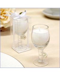 Sparkling  Wine Glass Candle Favor
