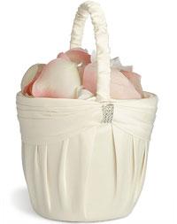 Ivory Sash Flower Basket