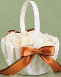 Two-Ribbon Custom Color Flower Girl Basket - Ivory