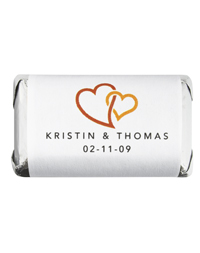 Personalized HERSHEY'S MINIATURES® Chocolates - Double Heart (Orange)