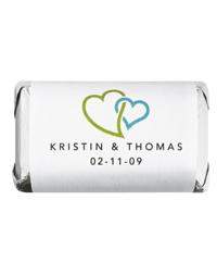 Personalized HERSHEY'S MINIATURES® Chocolates - Double Heart (Green)