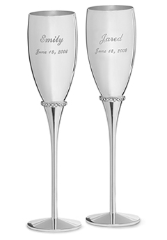 Toasting Flutes With Crystals